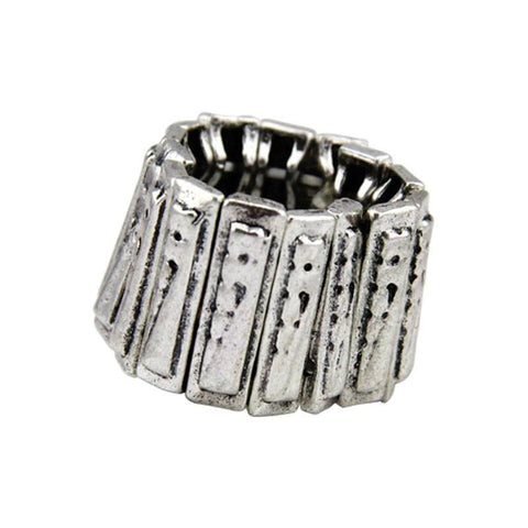 Fashion Ring - Tania Rocker-Style Silver-Plated Bar Link Stretchable Ring
