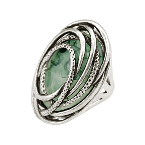 Fashion Ring - Theia Silver-Plated Light Green Resin Statement Ring For Men