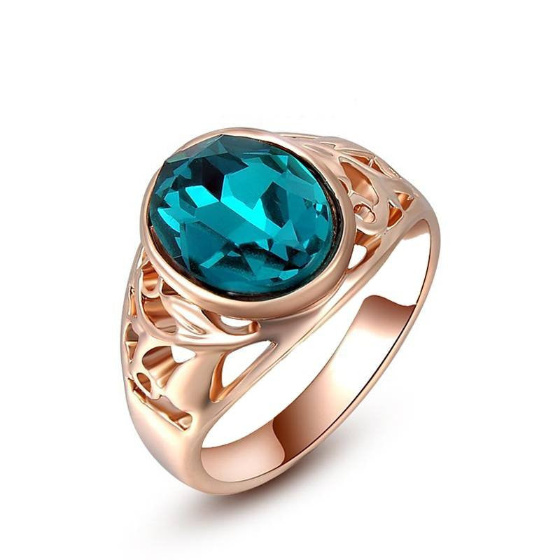 Fashion Ring - Vanessa Rose Gold Plated Ring With Blue Austrian Crystal