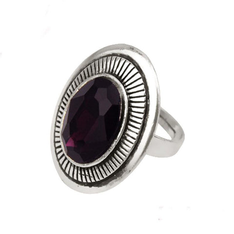 Fashion Ring - Xea Vintage Silver-Plated Oval Purple Acrylic Stone Ring