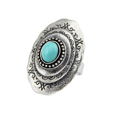 Fashion Ring - Xyza Vintage Silver Plated Carved Ring With Green Resin Gem