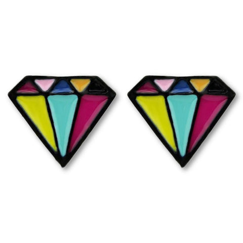 Fashion Stud Earrings - Agnes Colorful Stud Earrings With Geometric Design