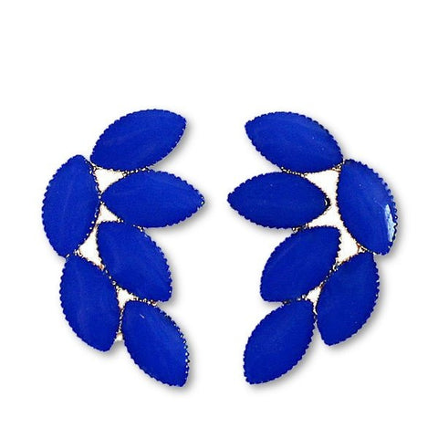 Fashion Stud Earrings - Alessa Blue Leaf Shape Stud Earrings