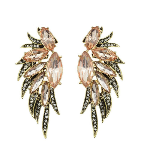 Fashion Stud Earrings - Alex Antique Gold With Wing Design Stud Earrings