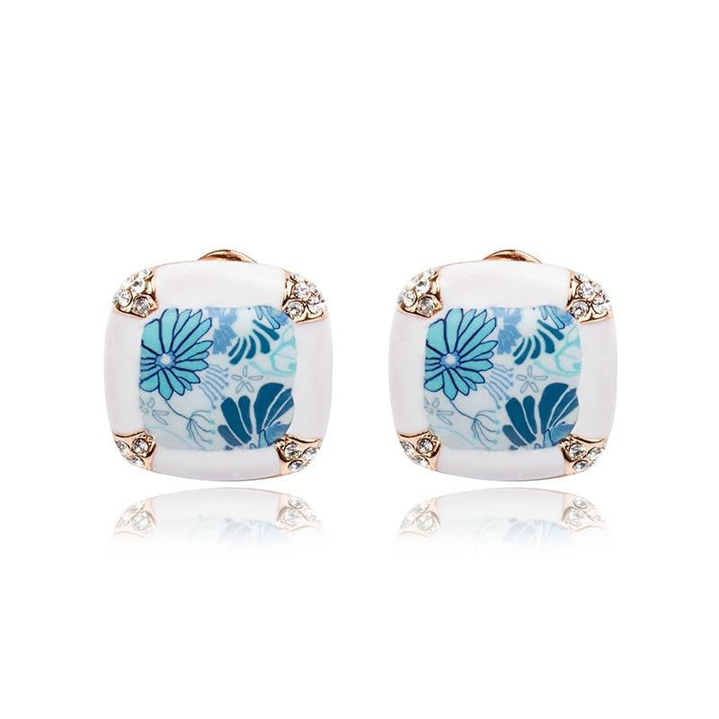 Fashion Stud Earrings - Cameron Trendy White Stud Earring With Blue Flowers