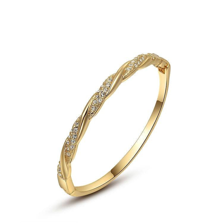 Fine Bangle - Quinlee Gold Plated Twirled Bangle With Austrian Rhinestone Crystals