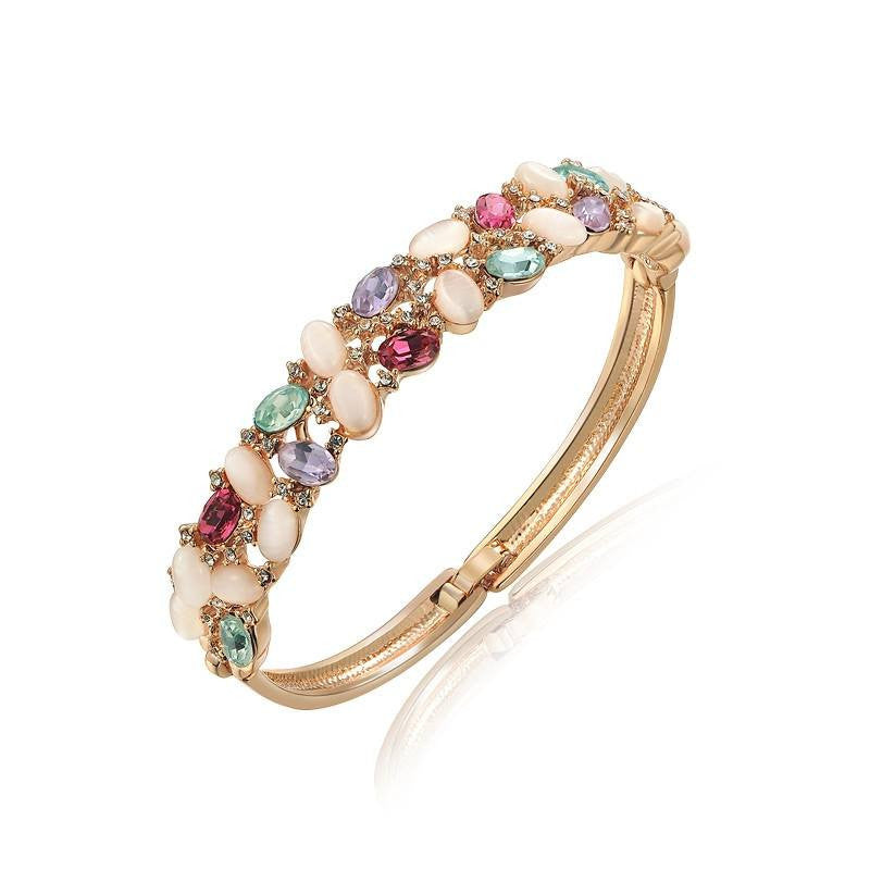 Fine Bangle - Wednesday Classic Gold Plated Bangle With Multicolor Opal Beads