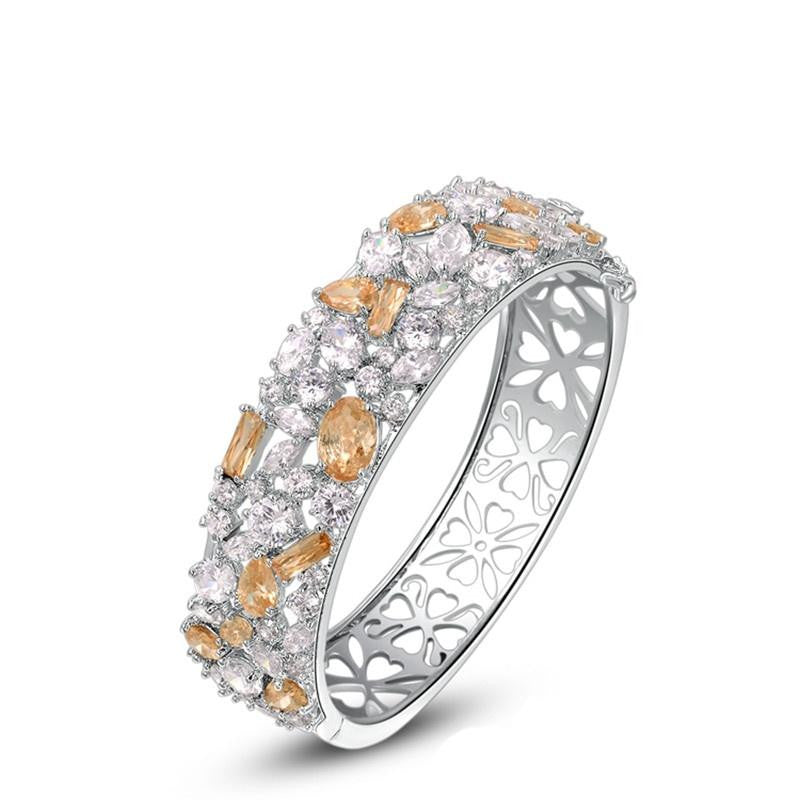 Fine Bangle - Wesley Platinum Plated Cut Out Bangle With Champagne Gold Zircon Crystals