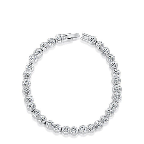 Fine Bracelet - Bethany Classic White Gold Clear Crystals Link Bracelet