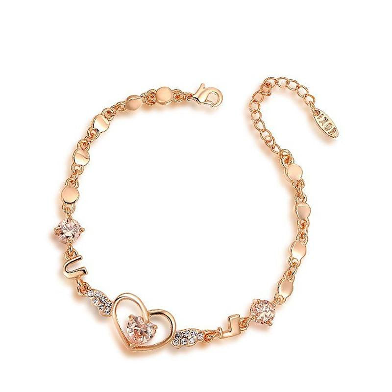 Fine Bracelet - Qian Rose Gold Plated Heart Bracelet With Austrian Crystals