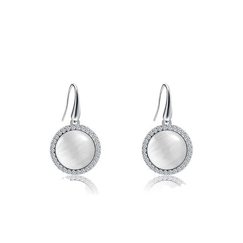 Fine Drop Earrings - Abilene Elegant White Plated Drop Earrings