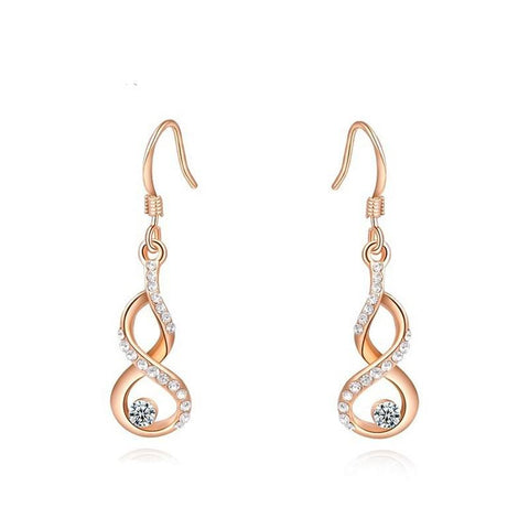 Fine Drop Earrings - Adelina Elegant Rose Gold Plated Drop Earrings