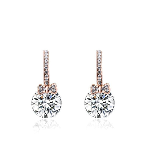 Fine Drop Earrings - Adrianna Rose Gold Plated Drop Earrings With Crystal
