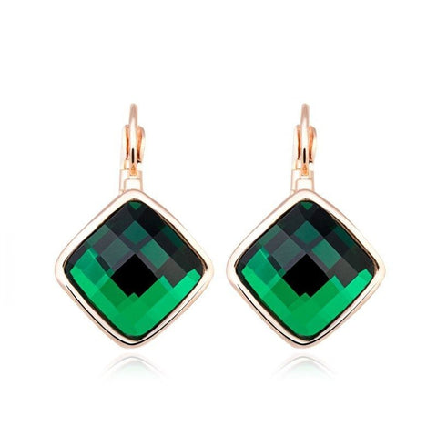Fine Drop Earrings - Aeron Gold Plated Drop Earrings With Green Crystal
