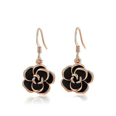 Fine Drop Earrings - Agape Rose Gold Plated Black Flower Design Drop Earrings