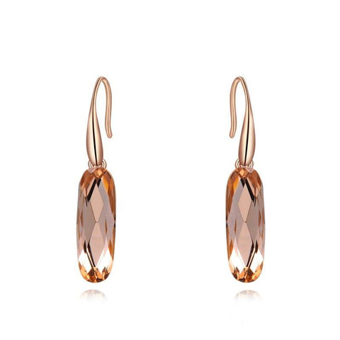 Fine Drop Earrings - Agnes Rose Gold Plated Drop Earrings With Champagne Gold Crystal