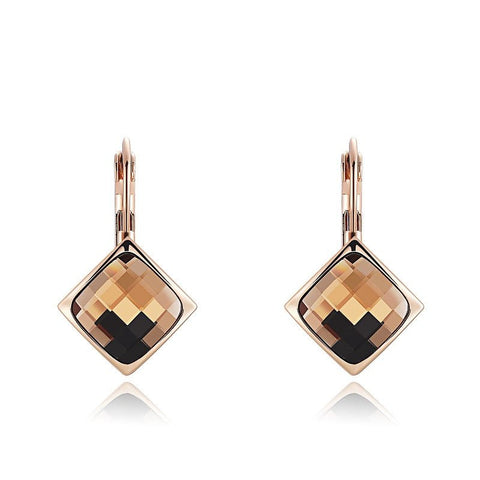 Fine Drop Earrings - Alexis Crystal Drop Earrings With Champagne Gold Stone