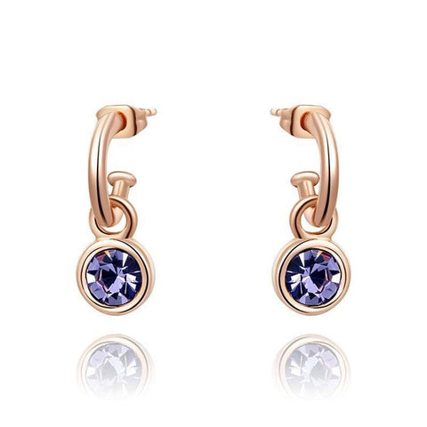 Fine Drop Earrings - Alivia Rose Gold Plated Drop Earrings With Navy Blue Crystal