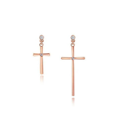 Fine Drop Earrings - Anna Rose Gold&White Gold Plated Cross Design Drop Earrings