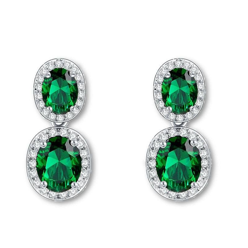 Fine Drop Earrings - Cynthia Crystal White Gold Plated Drop Earrings With Green Stone