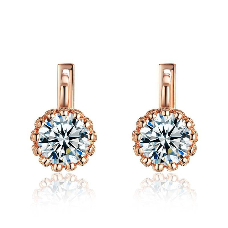 Fine Drop Earrings - Gabriela Rose Gold Plated Drop Earrings With Crystal