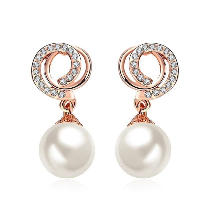 Fine Drop Earrings - Mariana Romantic Rose Gold Plated Earrings With Pearl & Rhinestones