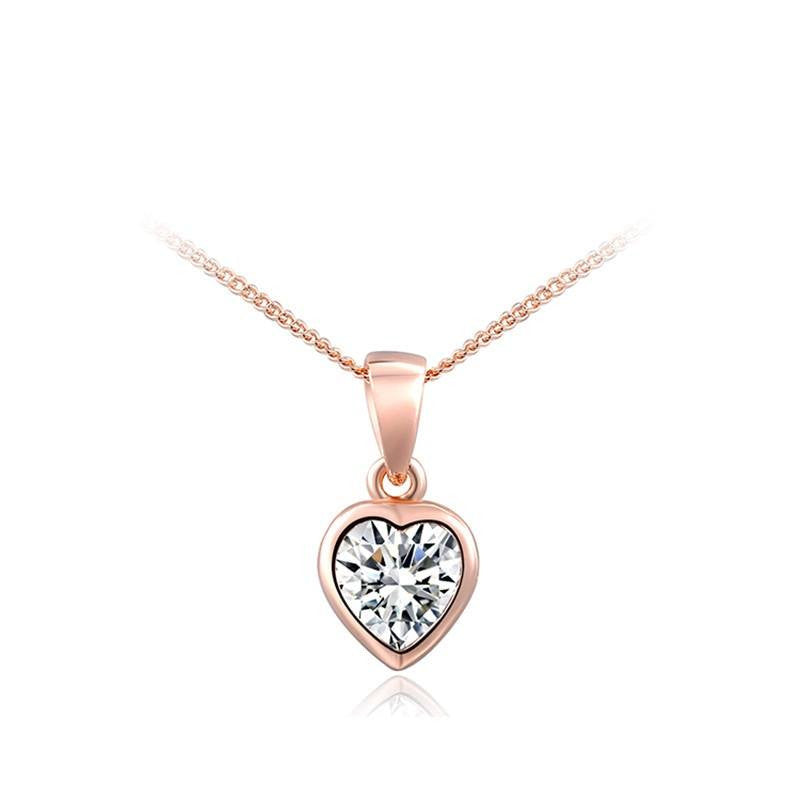 Fine Pendant Necklace - Evie Classic Gold Plated Necklace With Crystal Heart Pendant