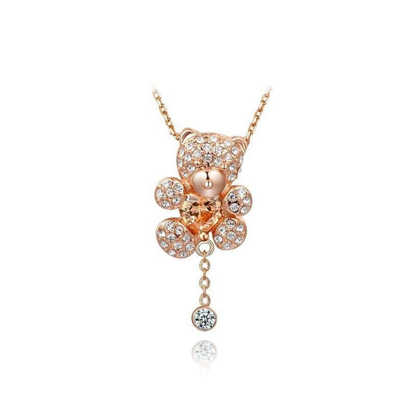 Fine Pendant Necklace - Odelia Gold Plated Teddy Bear Pendant Necklace With Heart Austrian Crystals