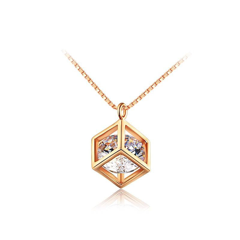 Fine Pendant Necklace - Rebecca Stylish Long Necklace With Crystal Encased In Box Pendant