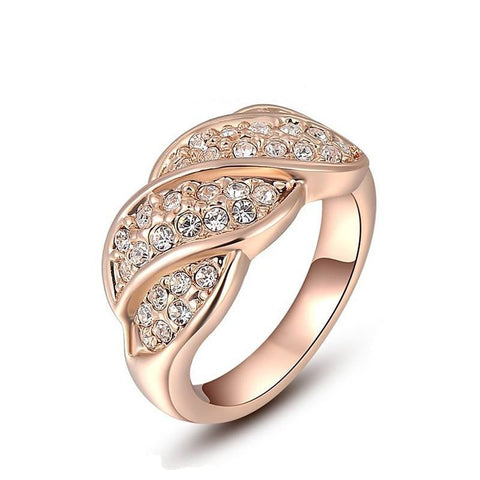 Fine Ring - Abigail Gold Plated Leaf Design Ring With Natural Stone