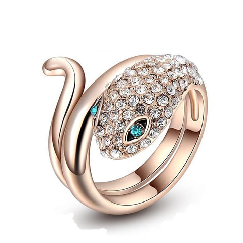 Fine Ring - Adam Crystal Rose Gold Plated Snake Design Ring