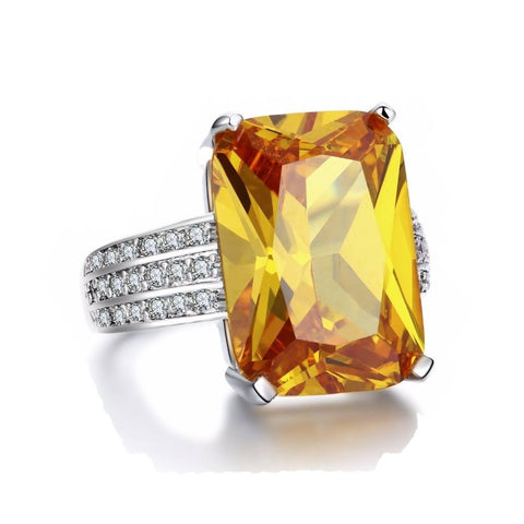 Fine Ring - Aggie White Gold Plated With Feminine Rectangular Big Yellow Crystal