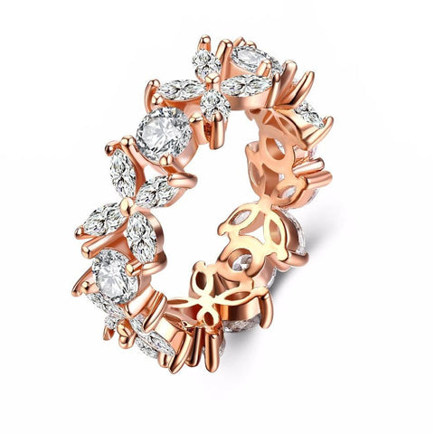 Fine Ring - Alexa Rose Gold Plated Ring With Floral Design And Clear Crystals