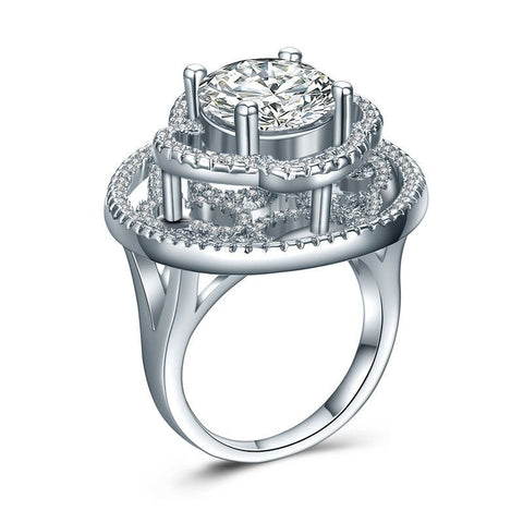 Fine Ring - Aliana White Gold-Plated Ring With Elevated Big Clear Crystals