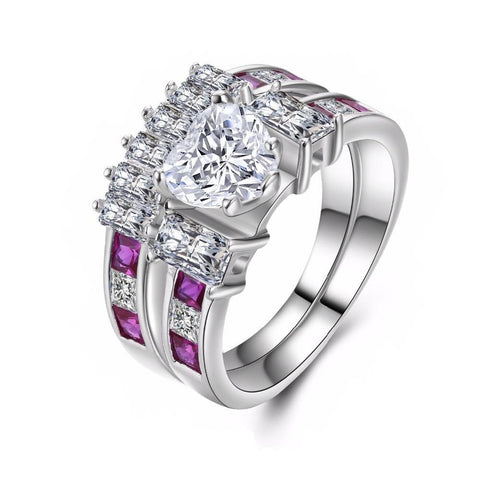 Fine Ring - Amaris White Gold Plated Ring With 2 Bands With Paved Pink CZ In Feminine Design
