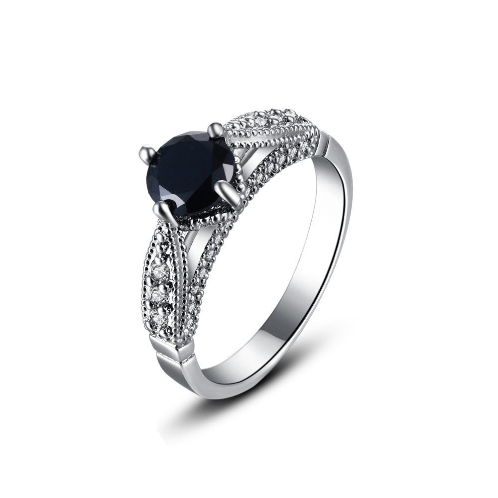 Fine Ring - Amily White Gold Plated Ring With Glamorous Black Center Crystal