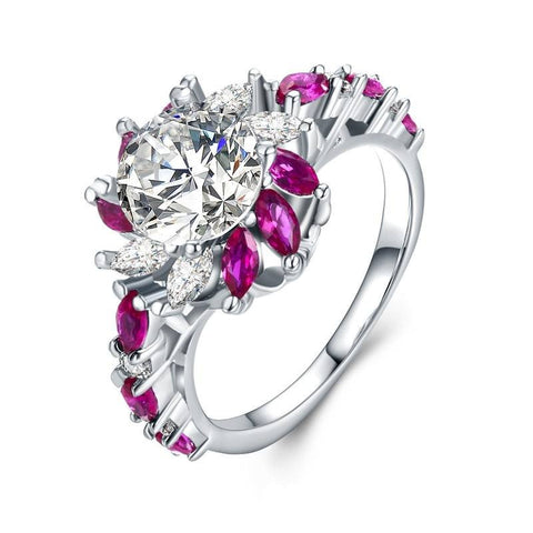 Fine Ring - Amirah White Gold Plated Ring With Glamorous Pink And Clear Crystals In Flower Design
