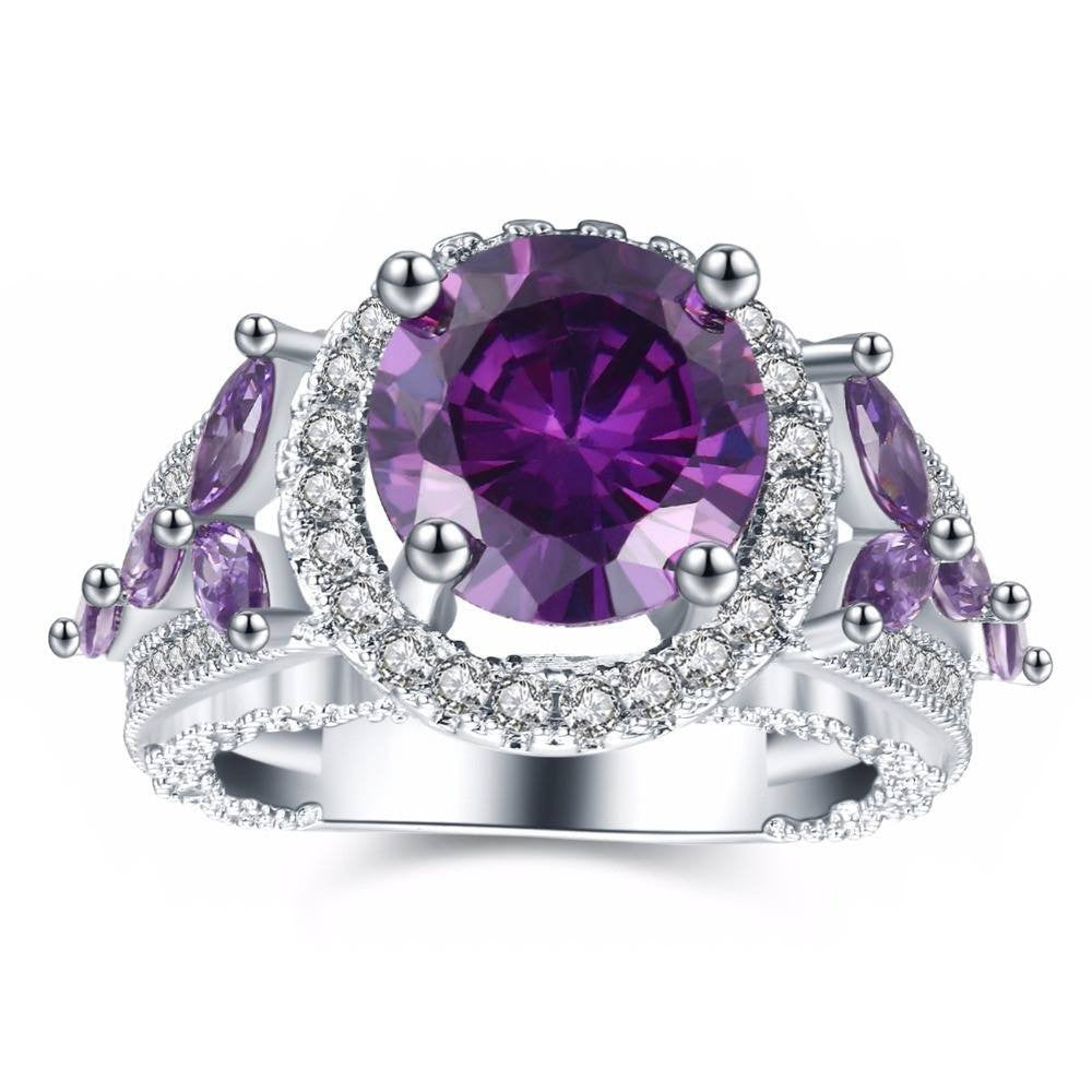 Fine Ring - Andromeda Elegant White Gold-Plated Ring With Purple Crystals