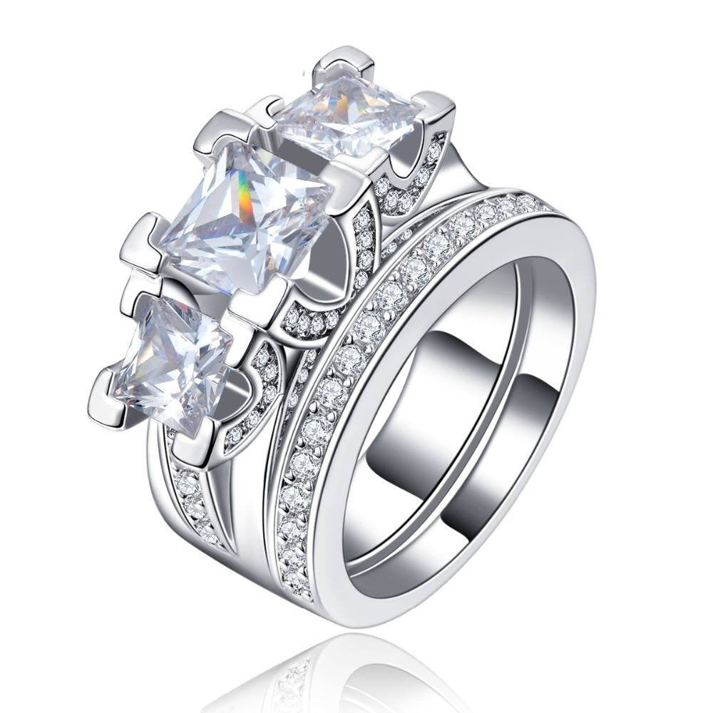 Fine Ring - Arwen White Gold Plated Double Ring With 3 Big Clear Simulated Diamonds