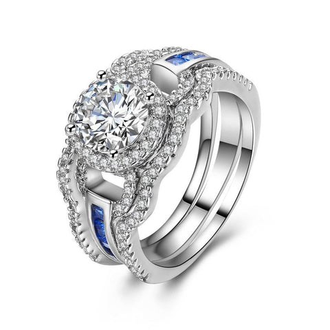 Fine Ring - Bonnie White Gold Plated With Triple Band Design And Paved Crystals In Clear And Blue