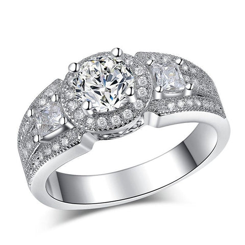 Fine Ring - Braelyn White Gold Ring With Large Band With Paved Crystals And Simulated Diamond