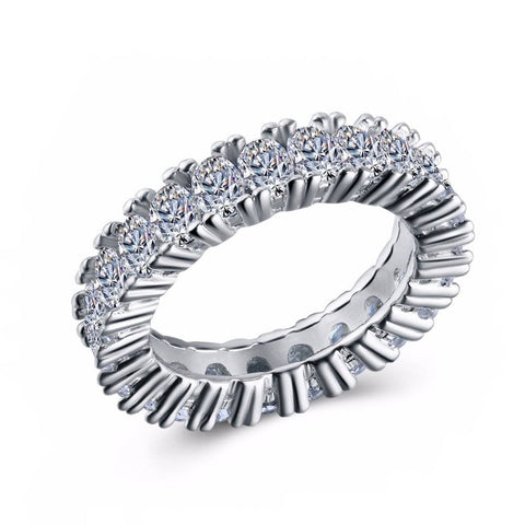 Fine Ring - Braylee White Gold Plated Ring With Paved Crystals In All Band