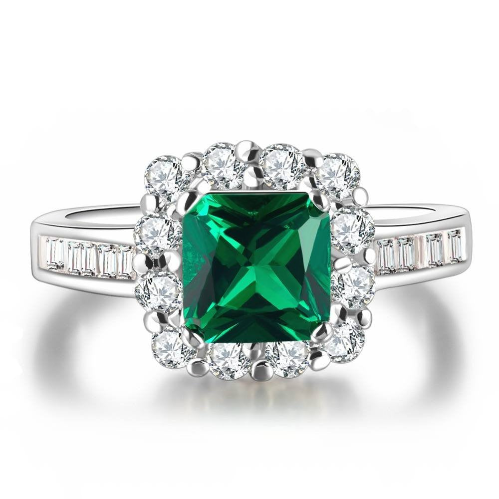 Fine Ring - Brigette White Gold Plated Ring With Clear Crystals And Green Square Big Stone