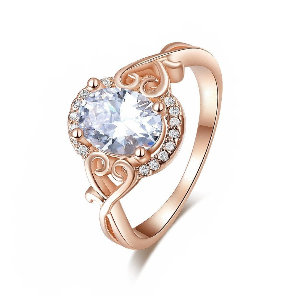 Fine Ring - Camren Rose Gold Plated Ring With Central Clear Crystal