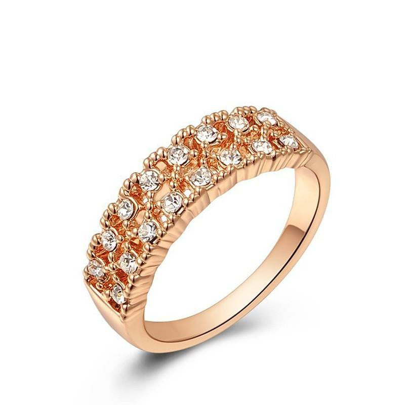 Fine Ring - Courtney Retro Style Rose Gold Plated Ring With Crystals