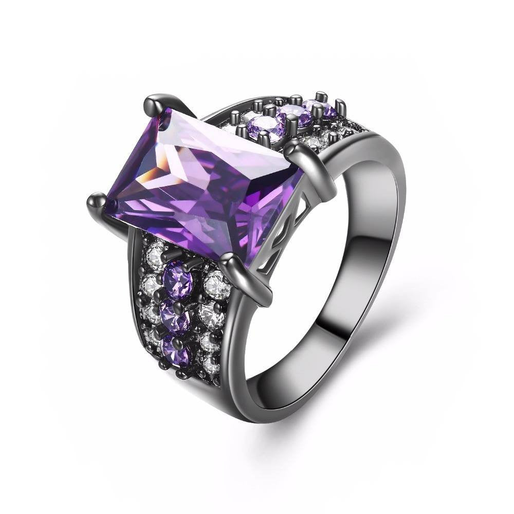Fine Ring - Denetris Black Gold Plated Ring With Big Purple Stone