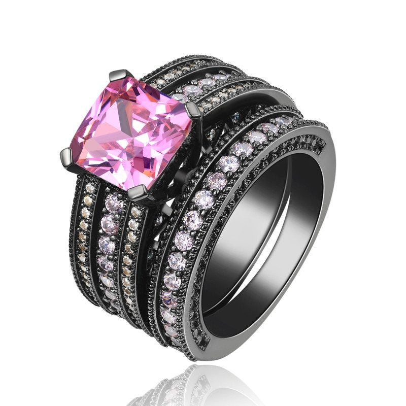 Fine Ring - Denijah Black Gold Plated Ring With Pink Big Crystal