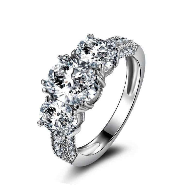 Fine Ring - Erika White Gold Plated Ring With Simulated Diamonds In Floral Design