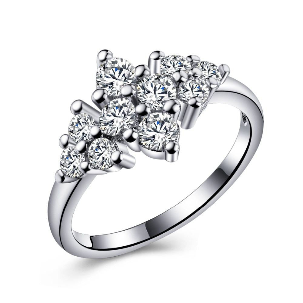 Fine Ring - Euphemia White Gold Plated Ring With Floral Design In Clear Crystals
