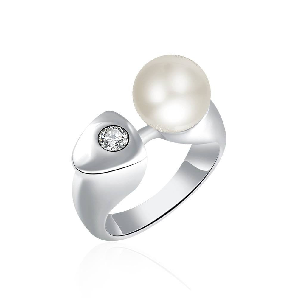 Fine Ring - Eva White Gold Plated Crystal Ring With Simulated Pearl&Rhinestone